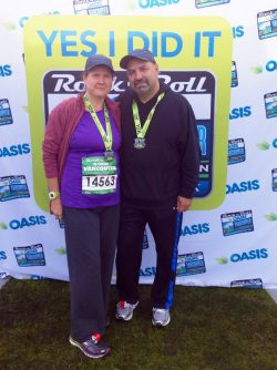 Christi and her husband at the Rock 'n' Roll Marathon Series