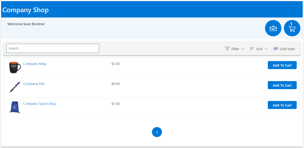 Kintivo Cart for SharePoint Online - Store Front