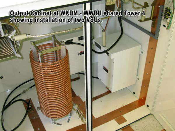 Output cabinet at WKDM-WWRU shared Tower 4 showing installation of two VSUs