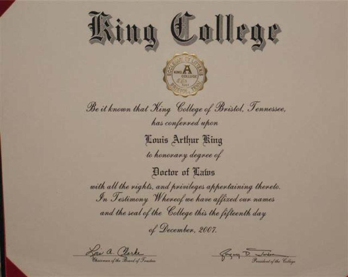 Louis King Diploma