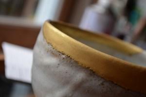 fine powdered gold before polishing kintsugi