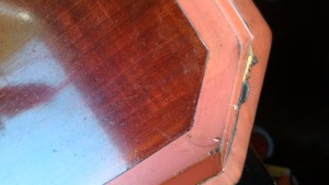 Meiji lacquer tray, repair, before sanding