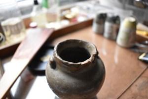 Edo white black vase