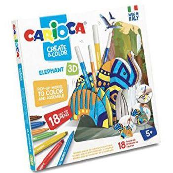 CARIOCA CREATE & COLOR ELEPHANT 18PZ     POP-UP DA COLORARE E COSTRUIRE