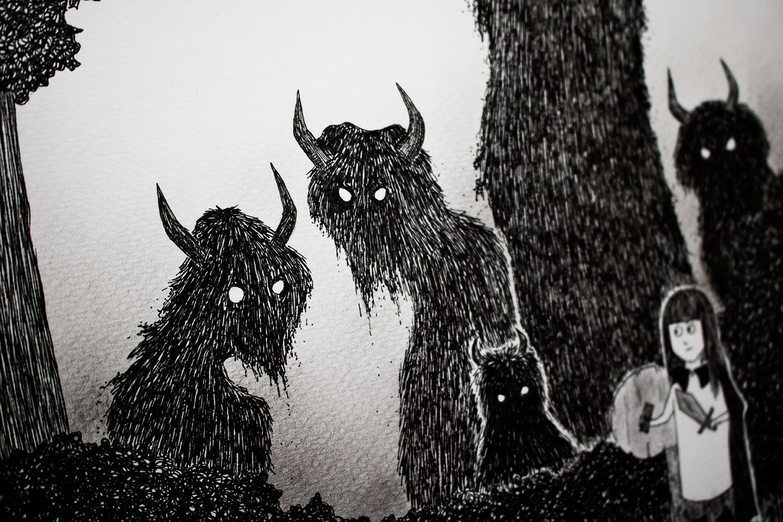 Dark monsters - detail from illustration by Kira Bang-Olsson