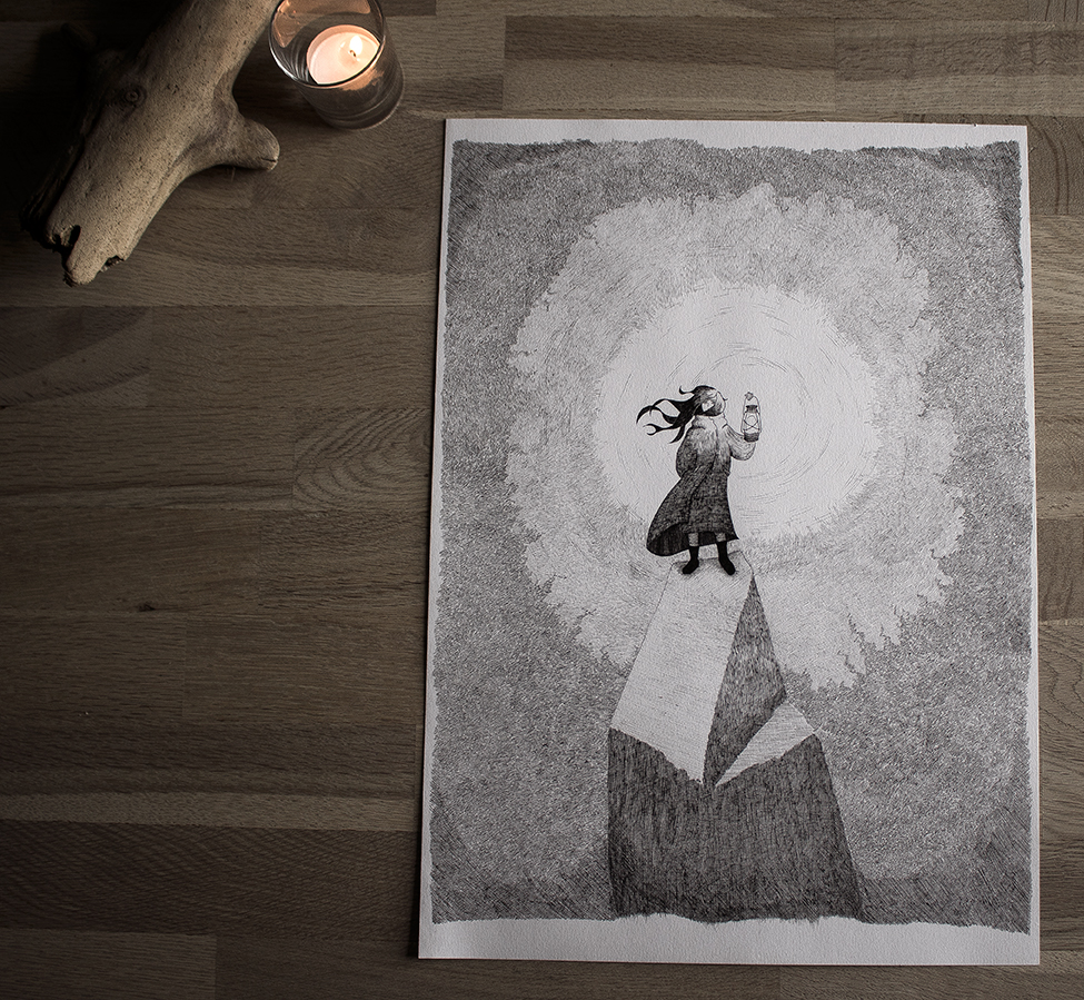Find the light - A3 illustration by Kira Bang-Olsson