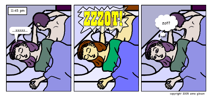 panel 1: 11:45 pm timestamp. lila and cole sleeping. panel 2: the room's lit like daylight and a loud ZZZOT is heard. panel 3: lila opens her eyes and thinks: zot?