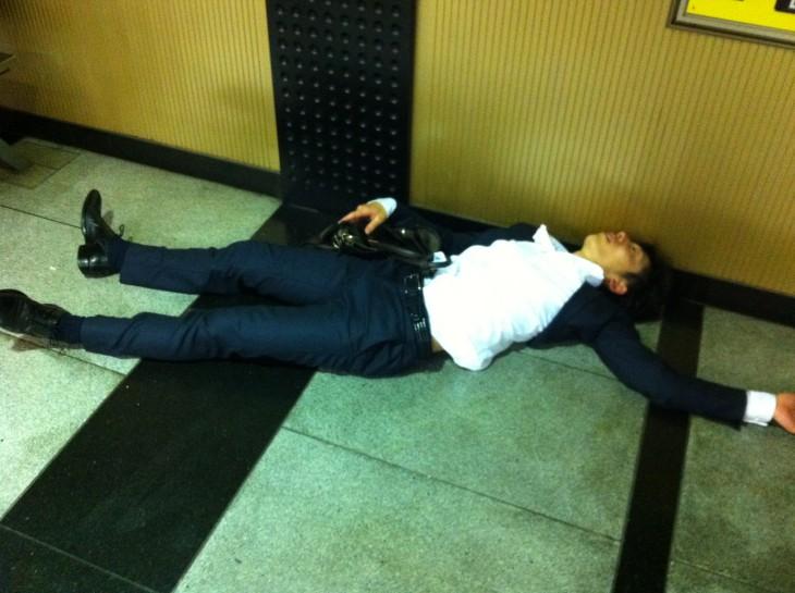 Japanese people sleeping on the street
