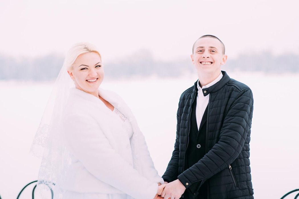 Фотосессия зимой свадьба на Оболони