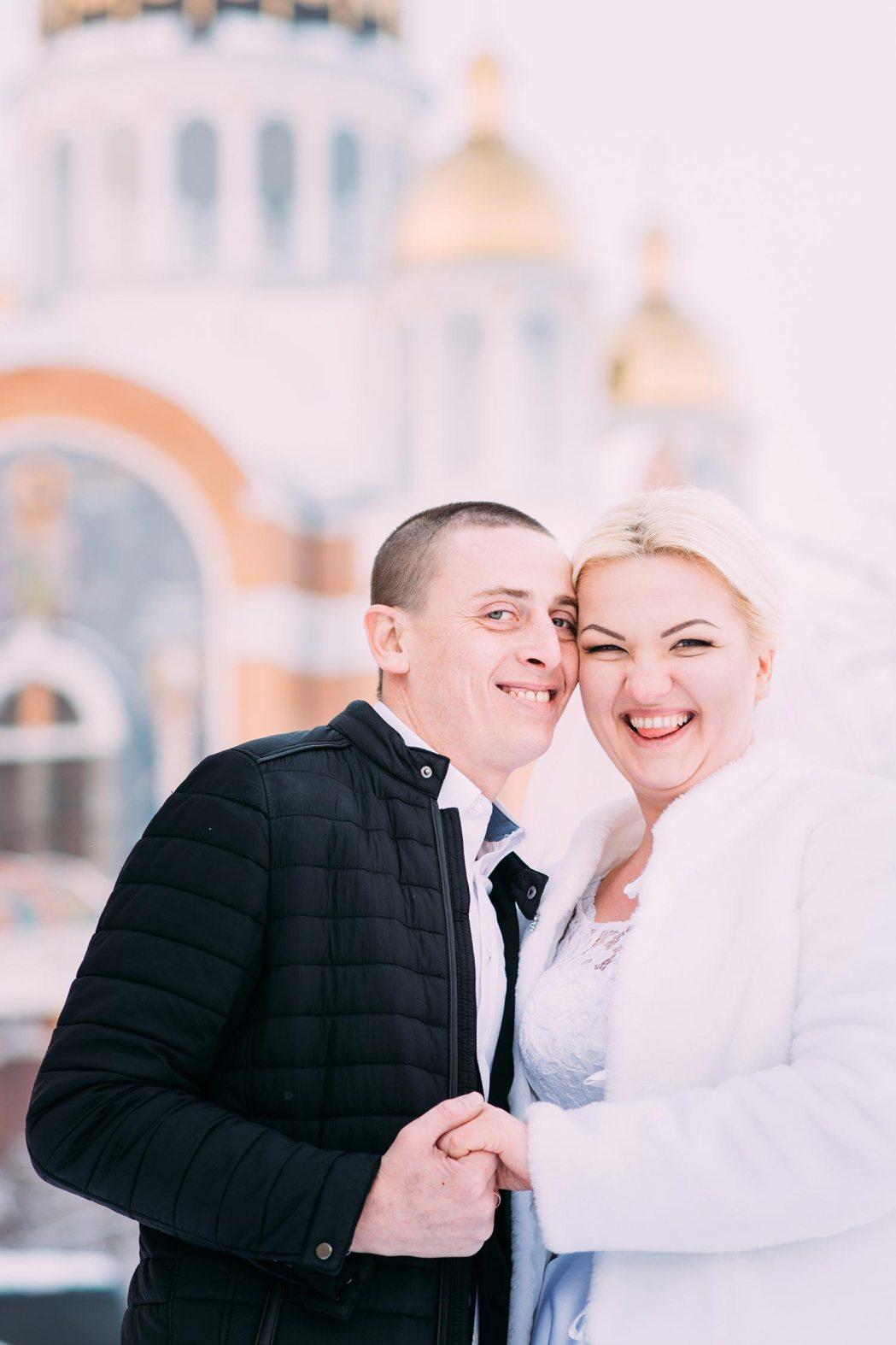 Зимняя фотосессия свадьбы Оболонь Киев