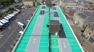 vertical view of Huddersfield bus station car park