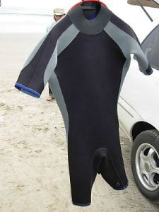 Shorty wetsuit hainging to dry