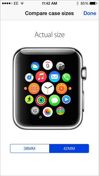 Apple watch case size