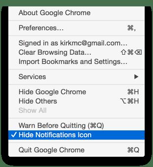 Chrome notifications menu