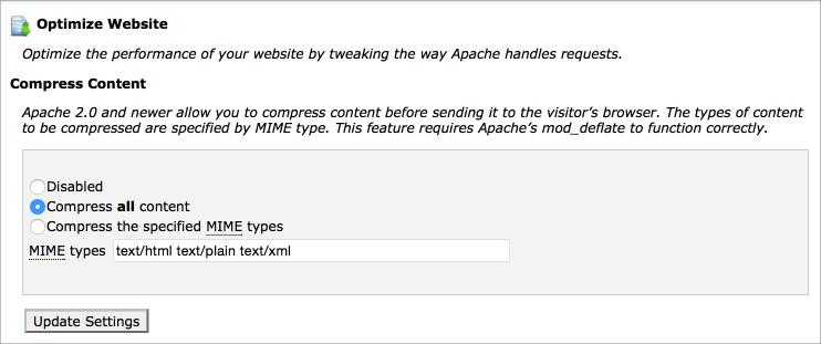 Compress content apache