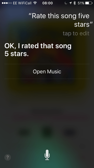 Ios music rate siri