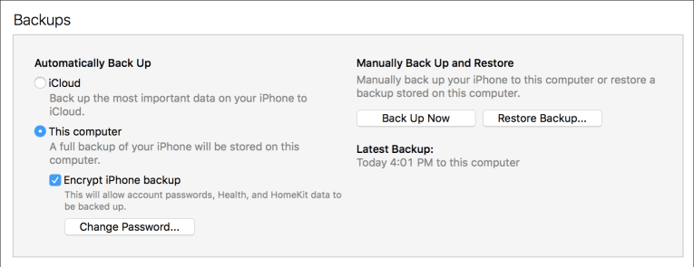 Itunes backup happy