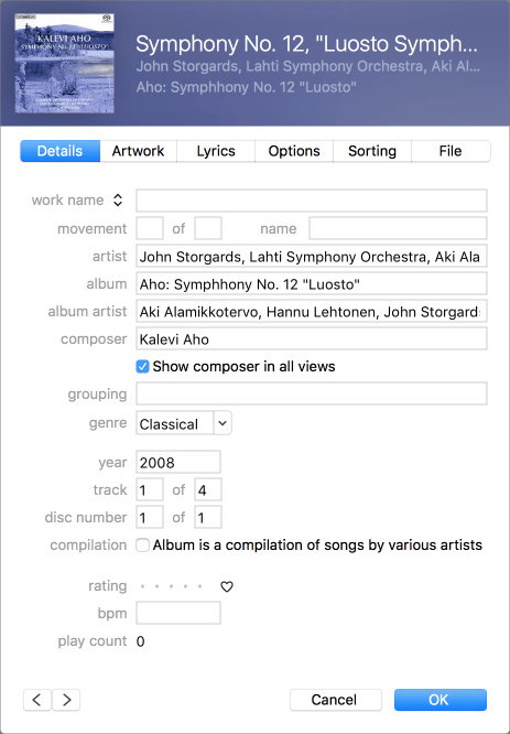 Itunes classical tags