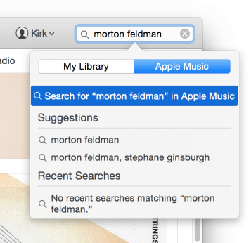 Itunes search field
