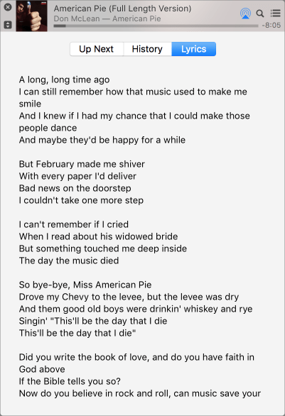 Miniplayer lyrics