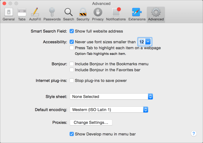 Safari prefs develop menu