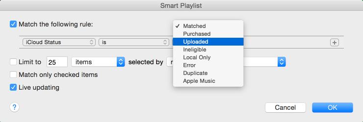 Smart playlist icloud status
