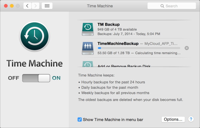 Time machine two disks