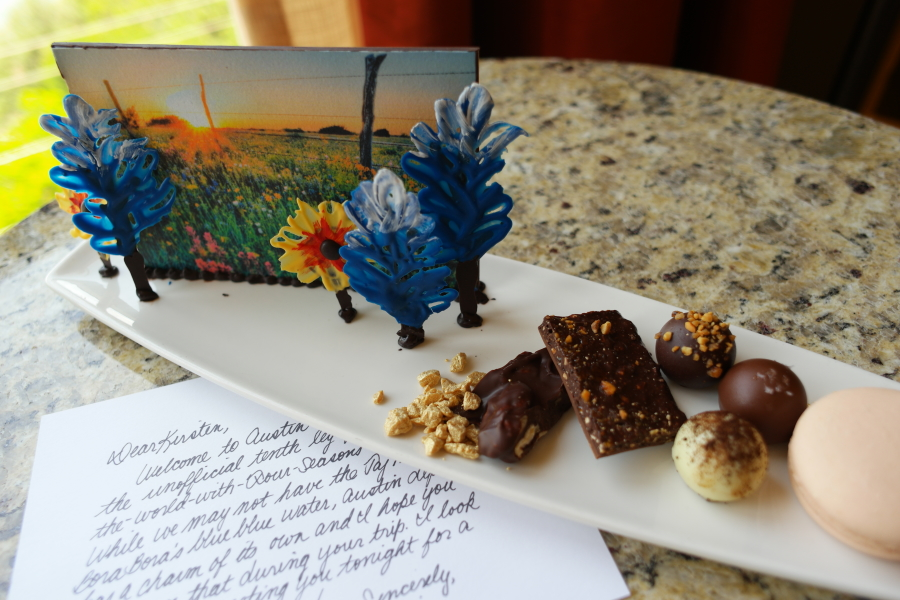 A sweet welcome to Four Seasons, waiting for me in my room.
