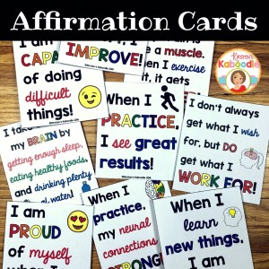 Create affirmation cards for students to keep in their desk, backpack, or at home. These easy to use growth mindset affirmations are perfect for teachers looking to change student thinking about their abilities and potential.