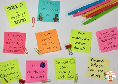 Positive messages, affirmations, and quotes on sticky notes are perfect for teachers who are looking for new ways to praise their students!