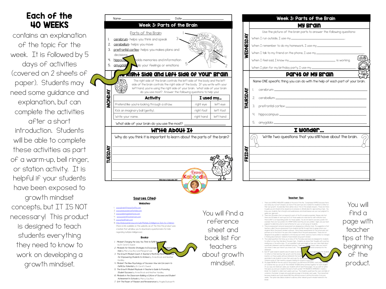 Growth Mindset Activities: Daily Warm-Up Journal for One