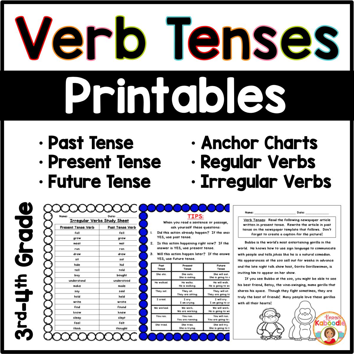 Verb Tenses Anchor Charts And Printables