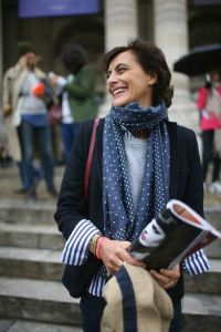 Striped shirt and spotted scarf