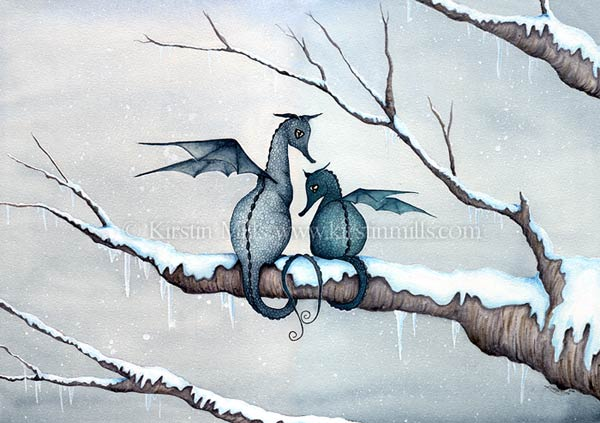 Winter Magic Dragon Art by Kirstin Mills, Fairy Tales, Fairies and Fantasy Art and Illustration