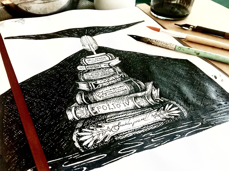 Pen and Ink Illustration for Podcast Logo Design, Macquarie University, From the Lighthouse, English Literature Podcast, artwork