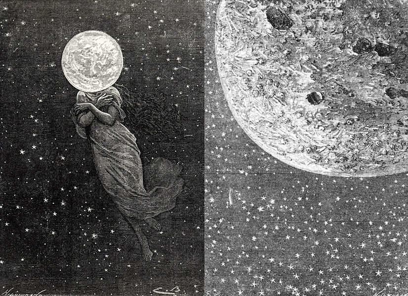 moon, full moon, folklore, lunar, lunar lore, jules verne, around the moon, lune