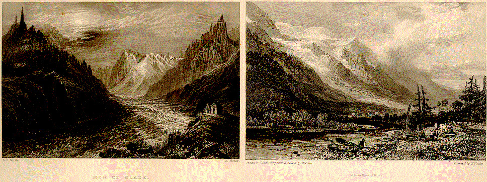 Frankenstein at 200, Frankenstein, Anniversary, Mary Shelley, Travel, History of a Six Weeks Tour, Rambles, Alps, Glaciers, Landscape, Gothic, Grand Tour, Romanticism, Romantic, Mountains, Illustration, Nineteenth Century