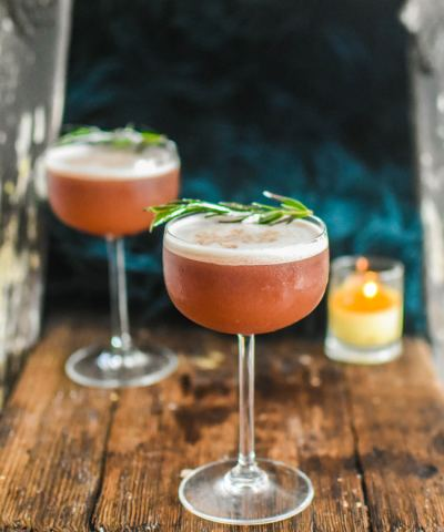 pink sour bourbon cocktails