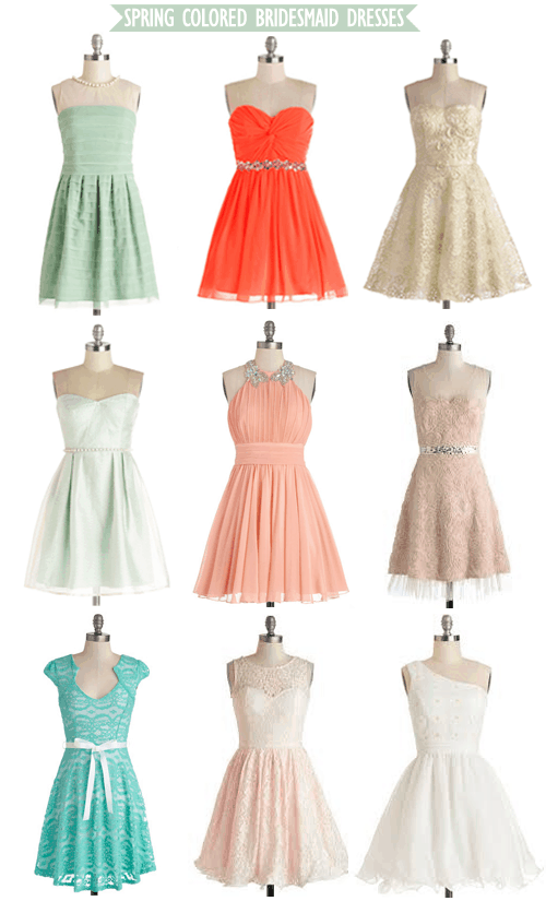 Spring Colored Bridesmaid Dresses from ModCloth