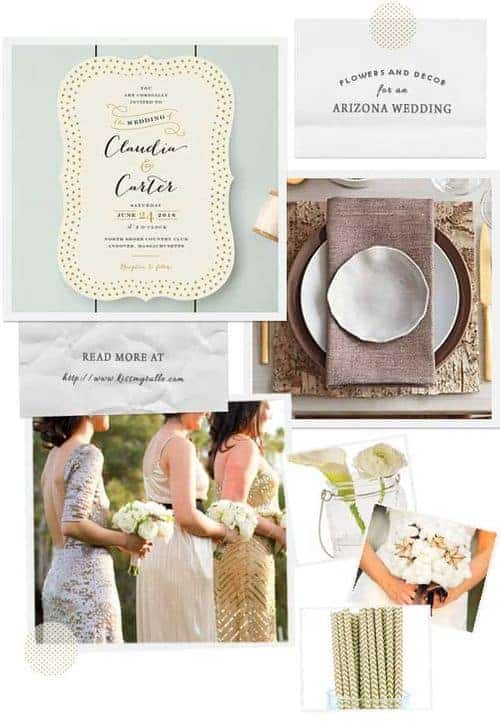 For an Arkansas wedding, I'd start with some close to home inspiration - specifically, the state's nickname of The Natural State! Be inspired by the state's gorgeous natural elements. Pair a tone-on-tone wedding invitation, gold straws, a bouquet of cotton, bark-inspired table settings, and gorgeous hanging candle holders made from glass - you've got yourself one spectacular a wedding!
