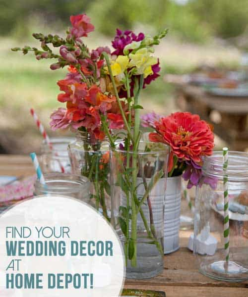 Find Your Wedding Decor at Home Depot! Suggestions on great wedding decor that you can make from Home Depot and what to pick up on your next visit to the store.