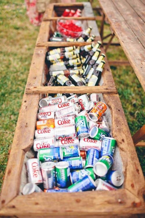I love the idea of turning an enormous flower boxes (or a series of smaller boxes) into a serve yourself drinks cooler.