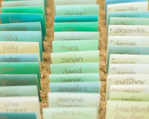 Love the idea of using trimmed down paint chips as a gorgeous and simple escort cards!