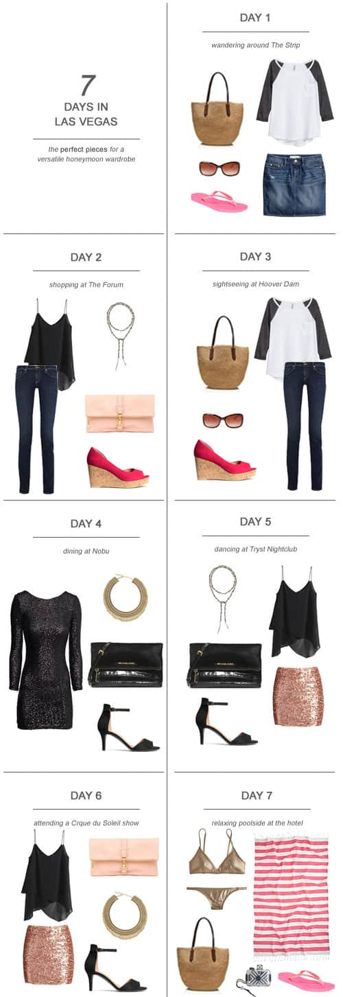 7 Days in Las Vegas : The Perfect Pieces for a Versatile Honeymoon Wardrobe || Here's my tips and suggestions on packing for 7 days in Las Vegas!