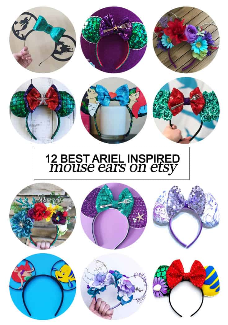 Want to snag some of your own custom ears? Here's the 12 best #Ariel inspired Mouse ears on etsy! #etsy #fashion #Disney #dsmmc #tmom #Disneyland #WaltDisneyWorld #Mouseears #handmade
