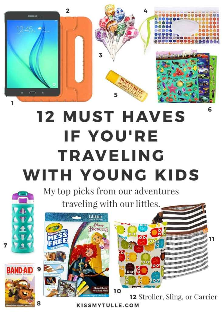 We love to travel so I have a Go Bag with our most used items already packed. Learn more about my 12 must haves if you're #traveling with young #kids! #travel #flying #familytravel #tmom #flyingwithkids
