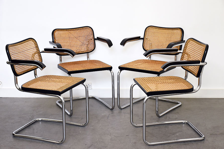 marcel breuer cesca chair with armrests chairs for office desk 4 s64 thonet vintage design switzerland set of by