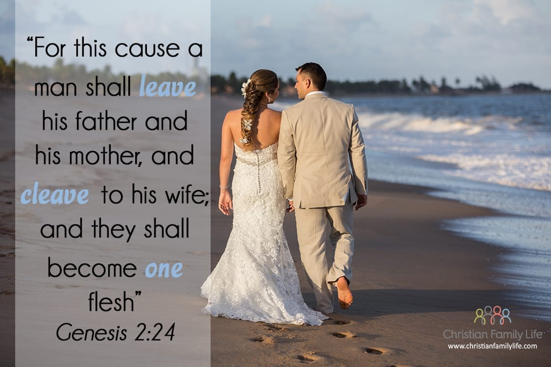 cleave to wife wedding on beach bible