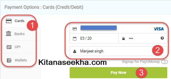 Card, Net Banking, Upi, Wallet me se payment opson choose kare