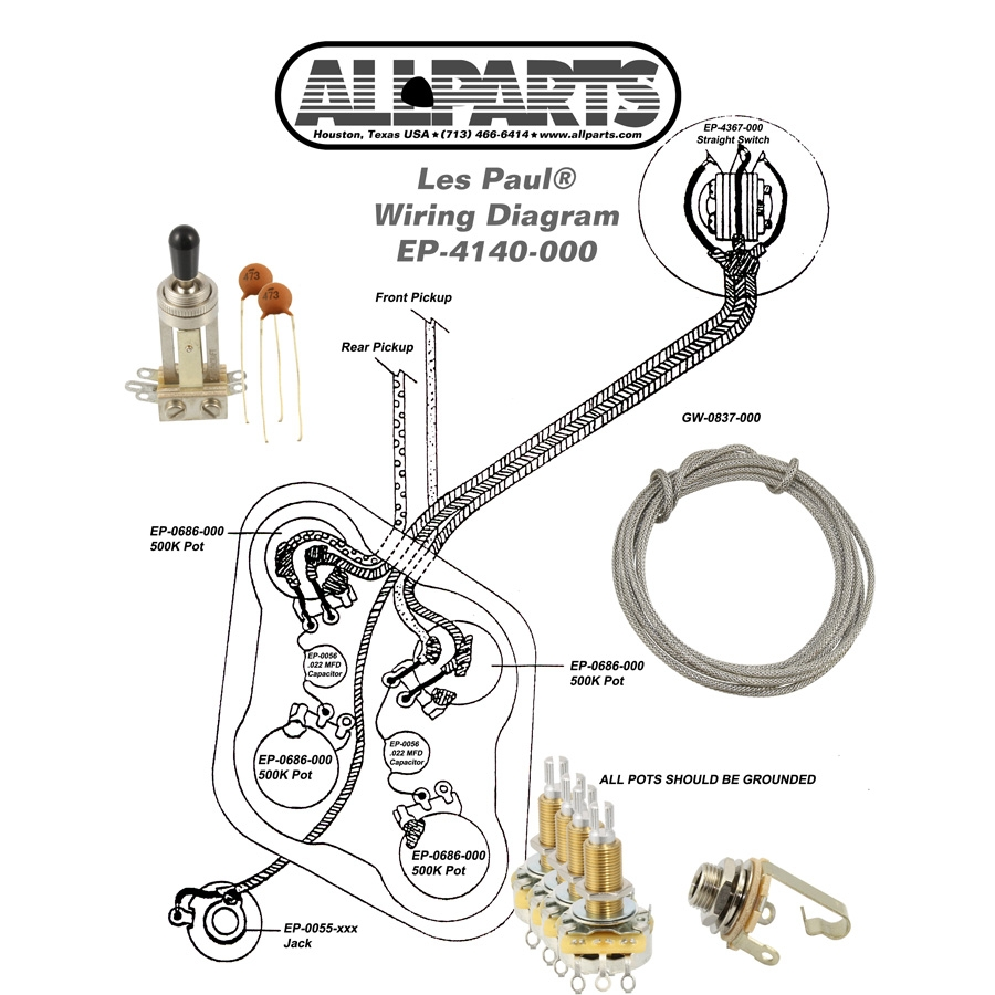 hight resolution of wiring kit for gibson les paul